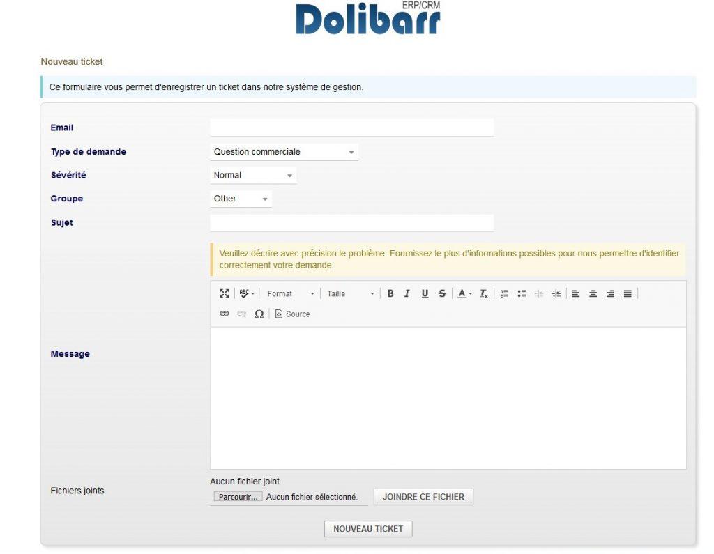 Créer un ticket dans le module Ticket de Dolibarr