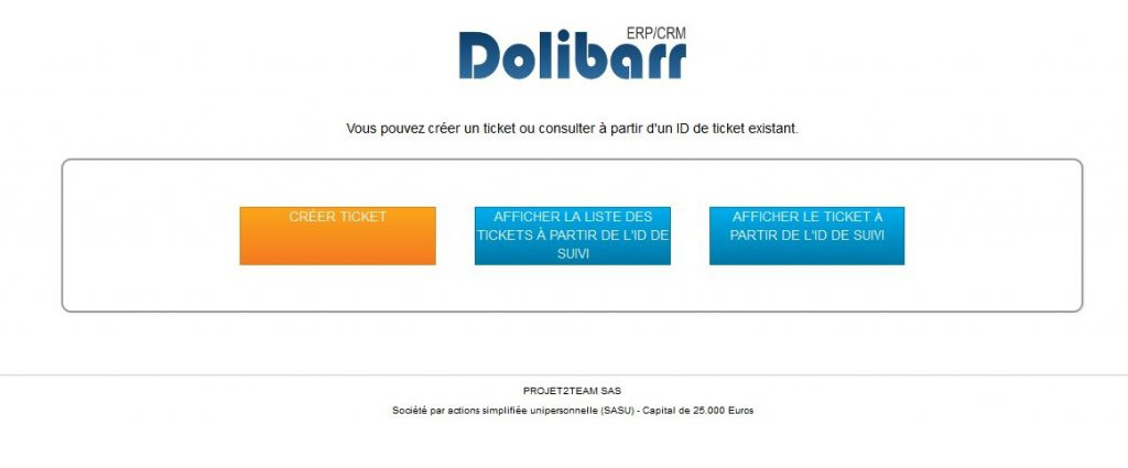 Interface publique du module ticket de Dolibarr CRM